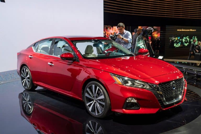 Nissan Altima on display during the 2018 New York International Auto Show, Can You Flat Tow A Nissan Altima? [And How To]